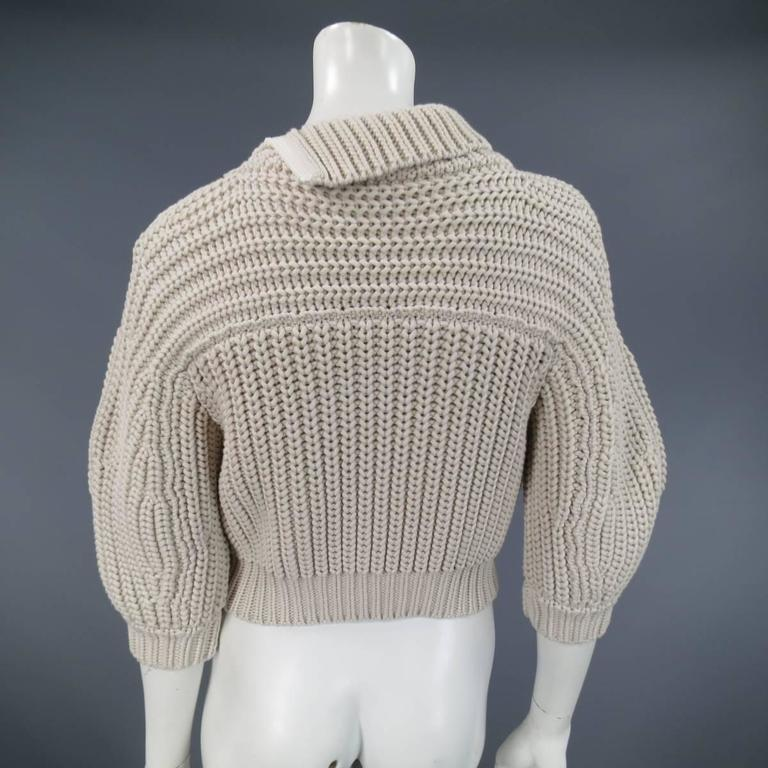 BRUNELLO CUCINELLI Size M Beige Chunky Knit Cropped Sparkle Zip Shoulder Sweater 8