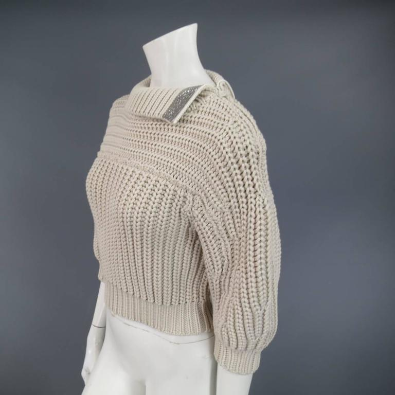 BRUNELLO CUCINELLI Size M Beige Chunky Knit Cropped Sparkle Zip Shoulder Sweater 7