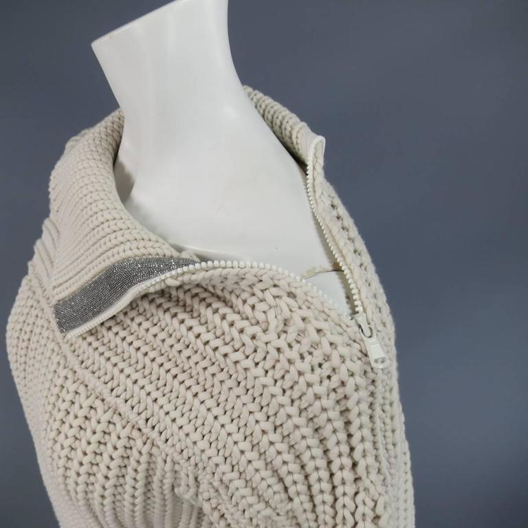 BRUNELLO CUCINELLI Size M Beige Chunky Knit Cropped Sparkle Zip Shoulder Sweater 6