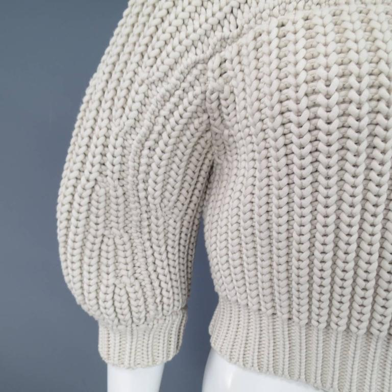 BRUNELLO CUCINELLI Size M Beige Chunky Knit Cropped Sparkle Zip Shoulder Sweater 9