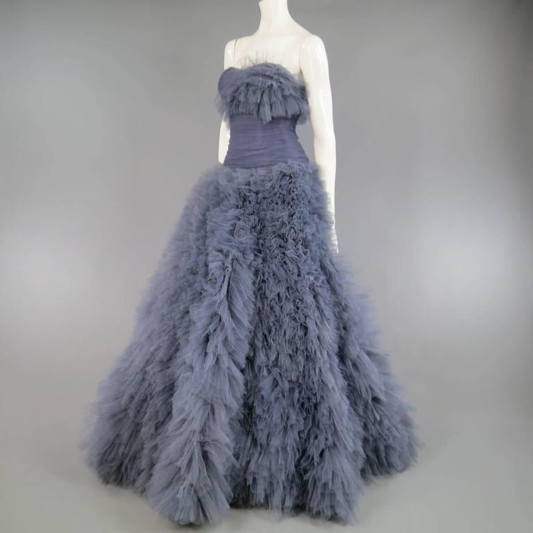 MARCHESA Size 4 Gray Blue Beaded Ruffle Tulle Strapless Bustier Evening Gown 4
