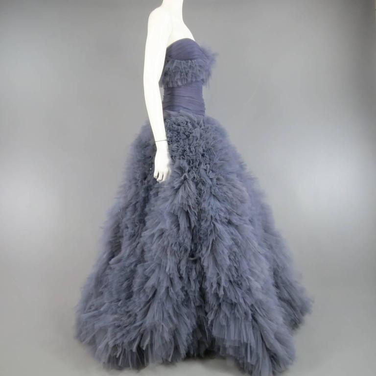 MARCHESA Size 4 Gray Blue Beaded Ruffle Tulle Strapless Bustier Evening Gown 7