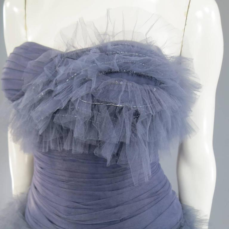 MARCHESA Size 4 Gray Blue Beaded Ruffle Tulle Strapless Bustier Evening Gown 3