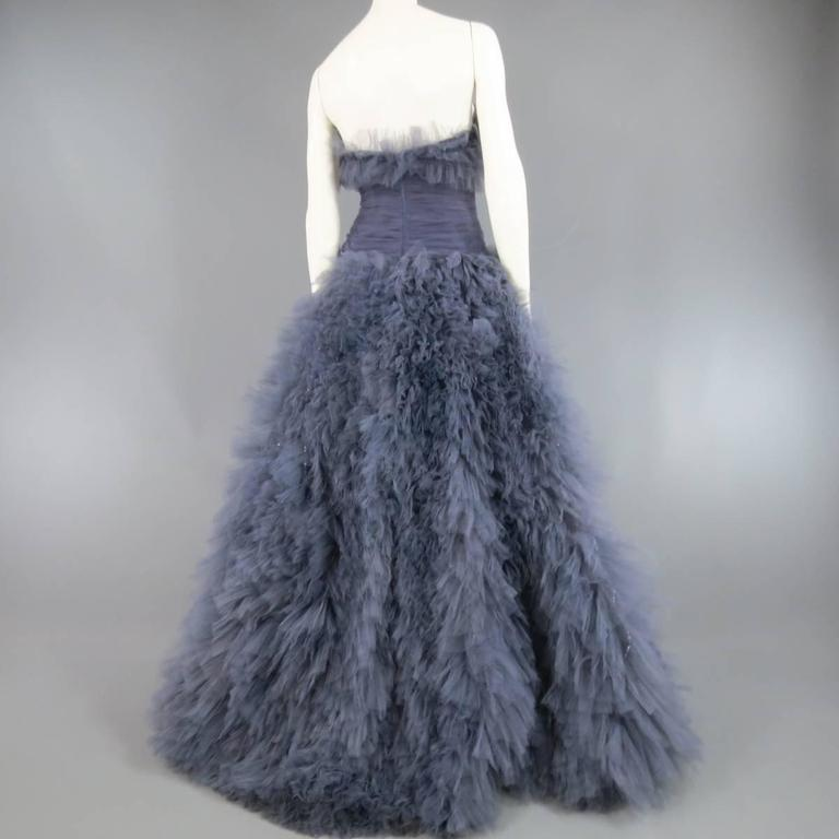 MARCHESA Size 4 Gray Blue Beaded Ruffle Tulle Strapless Bustier Evening Gown 9
