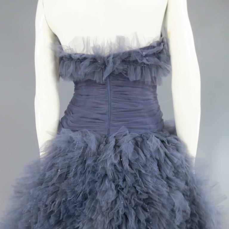 MARCHESA Size 4 Gray Blue Beaded Ruffle Tulle Strapless Bustier Evening Gown For Sale 4