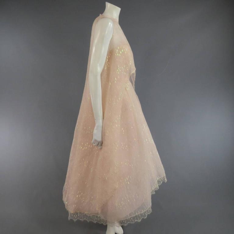 MONIQUE LHUILLIER Size 4 Pink Iridescent Lace Strapless Two Piece Cape Dress For Sale 1