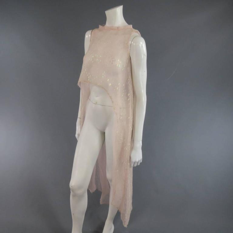 MONIQUE LHUILLIER Size 4 Pink Iridescent Lace Strapless Two Piece Cape Dress For Sale 4