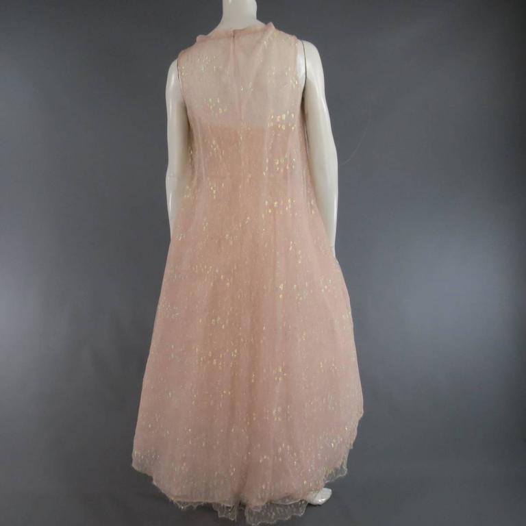 MONIQUE LHUILLIER Size 4 Pink Iridescent Lace Strapless Two Piece Cape Dress For Sale 3