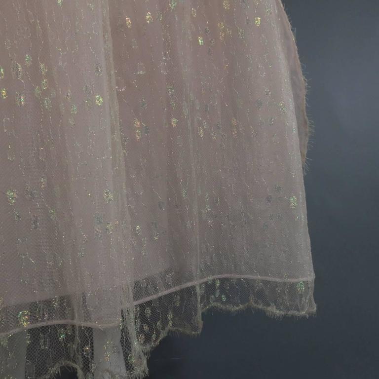 Women's MONIQUE LHUILLIER Size 4 Pink Iridescent Lace Strapless Two Piece Cape Dress For Sale