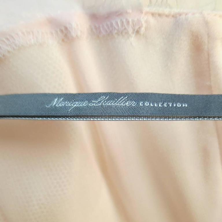 MONIQUE LHUILLIER Size 4 Pink Iridescent Lace Strapless Two Piece Cape Dress For Sale 5