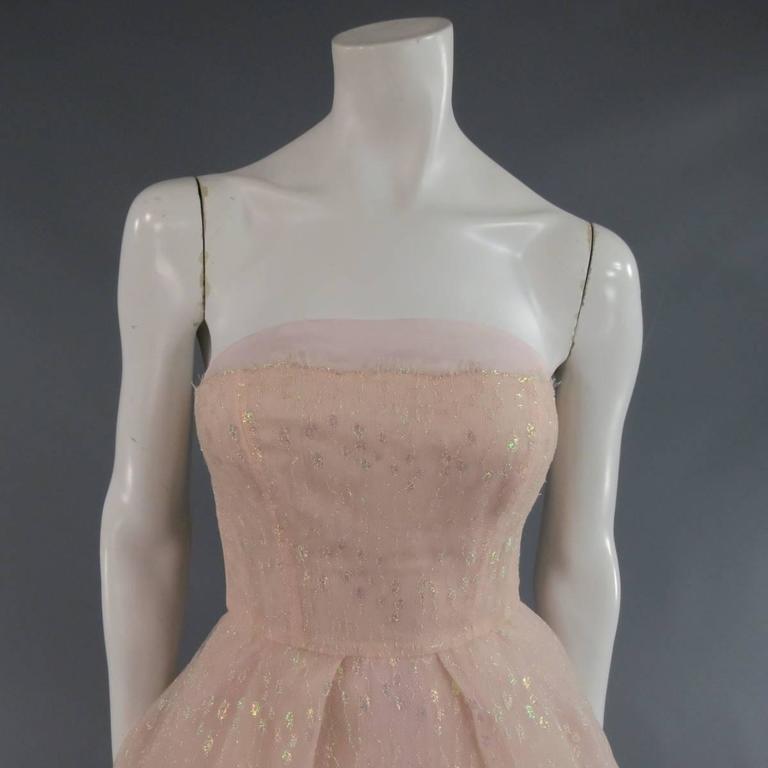 Brown MONIQUE LHUILLIER Size 4 Pink Iridescent Lace Strapless Two Piece Cape Dress For Sale