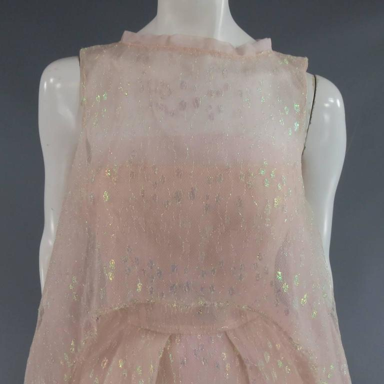 MONIQUE LHUILLIER Size 4 Pink Iridescent Lace Strapless Two Piece Cape Dress In Excellent Condition For Sale In San Francisco, CA