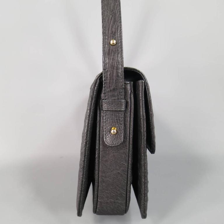Vintage GUCCI Black Ostrich Leather Gold Crest Shoulder Bag 6