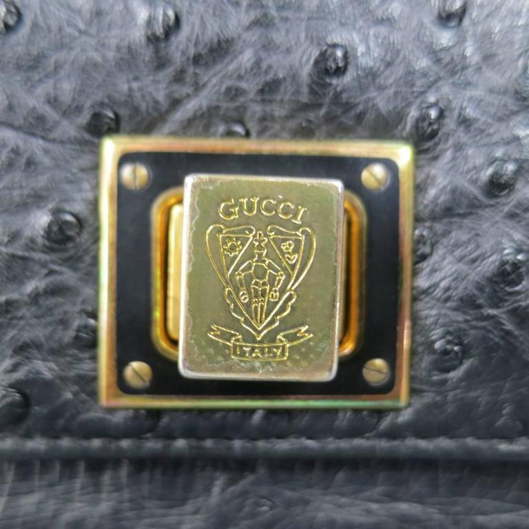 Vintage GUCCI Black Ostrich Leather Gold Crest Shoulder Bag 3