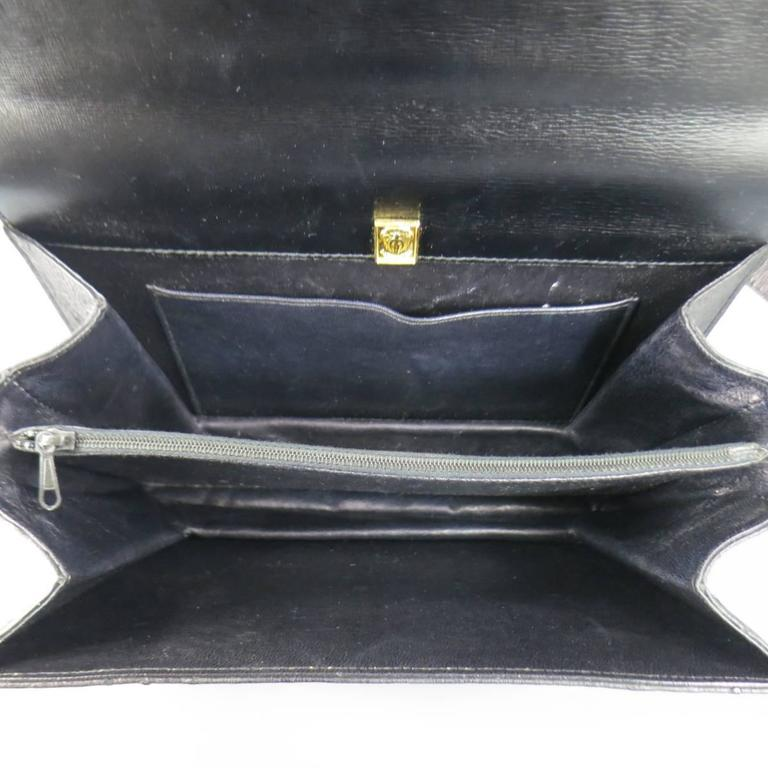 Vintage GUCCI Black Ostrich Leather Gold Crest Shoulder Bag 8