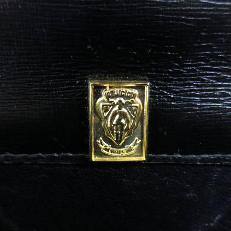 Vintage GUCCI Black Ostrich Leather Gold Crest Shoulder Bag 9