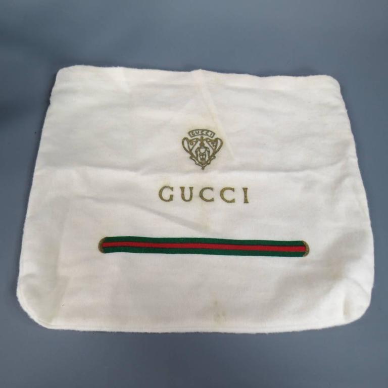 Vintage GUCCI Black Ostrich Leather Gold Crest Shoulder Bag 10