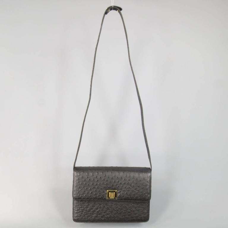 Vintage GUCCI Black Ostrich Leather Gold Crest Shoulder Bag For Sale 3
