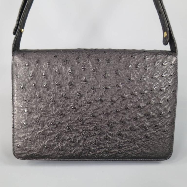 Vintage GUCCI Black Ostrich Leather Gold Crest Shoulder Bag 5
