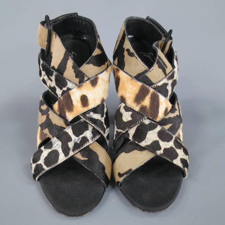 Giuseppe Zanotti Black Woven Animal Print Pony Hair Alien Sandals Heels  For Sale 1