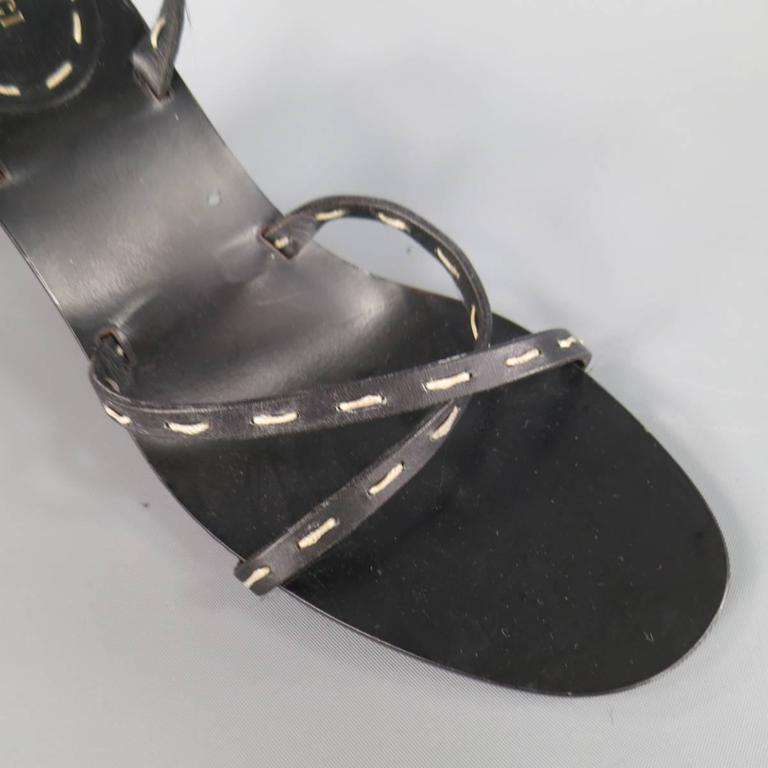GUCCI Size 8 Black Leather Ankle Strap Bamboo Heel Sandals 5