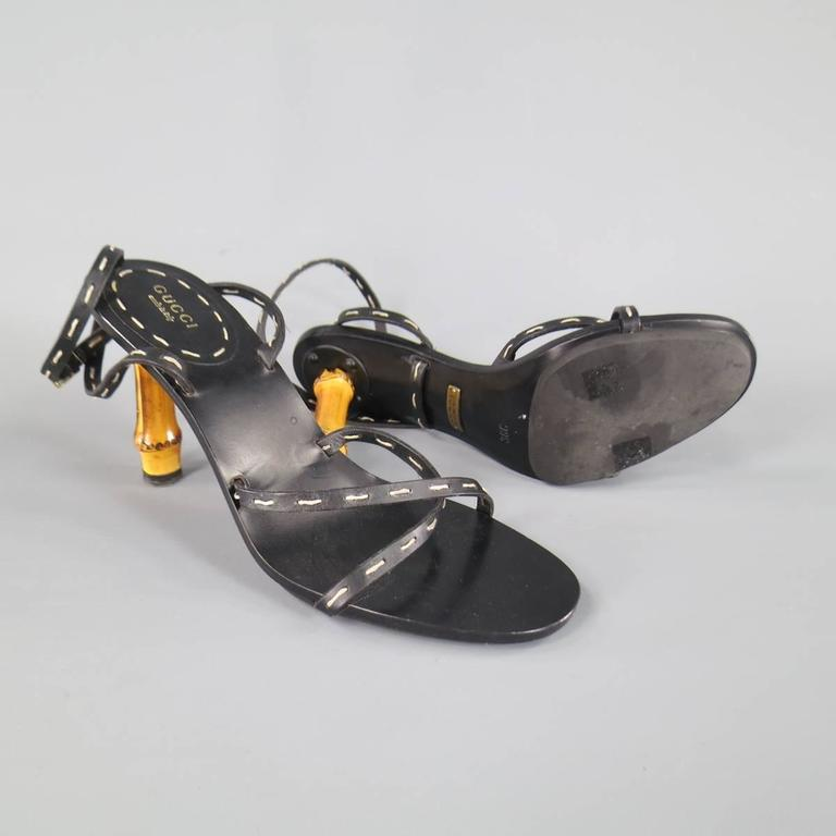 GUCCI Size 8 Black Leather Ankle Strap Bamboo Heel Sandals In Excellent Condition For Sale In San Francisco, CA