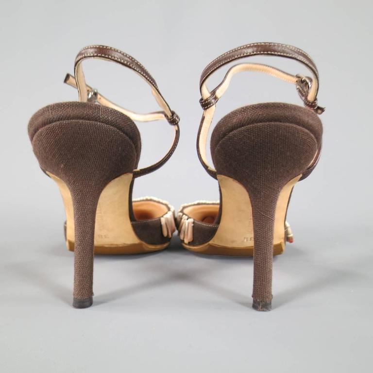 MANOLO BLAHNIK Pumps  - Size 8 Brown Canvas Ankle Strap Sea Shell Heels For Sale 2
