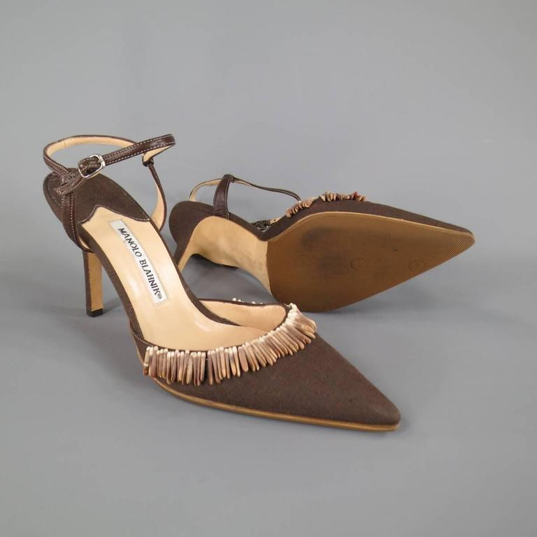 MANOLO BLAHNIK Pumps  - Size 8 Brown Canvas Ankle Strap Sea Shell Heels For Sale 1