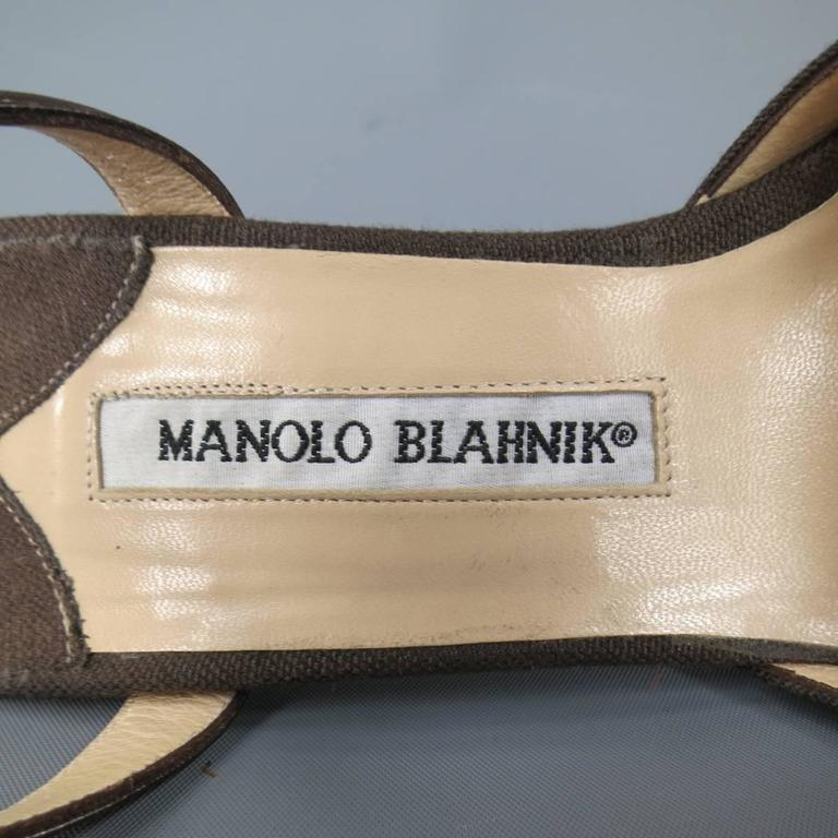 MANOLO BLAHNIK Pumps  - Size 8 Brown Canvas Ankle Strap Sea Shell Heels For Sale 4