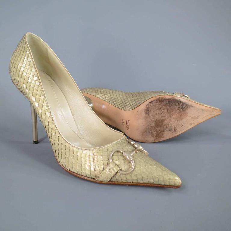 GUCCI Size 9.5 Mint Beige Snakeskin Silver Horsebit Pointed Toe Metal Heel Pumps 4