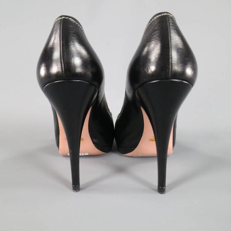 PRADA Size 9 Black Contrast Stitching Leather Peep Toe Knot Bow Platform Pumps 5
