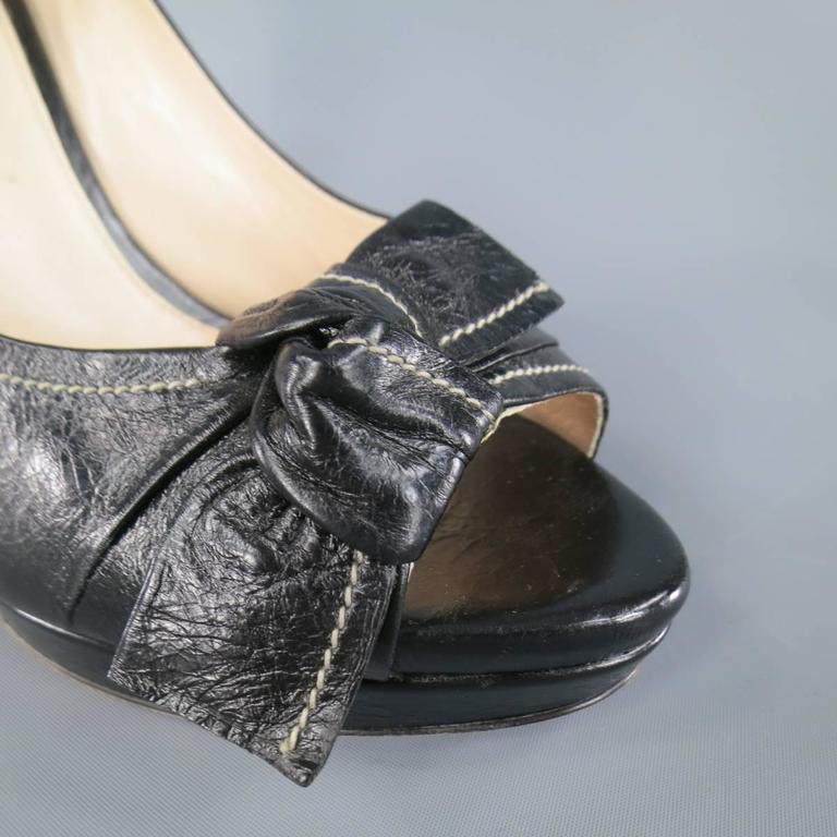 PRADA Size 9 Black Contrast Stitching Leather Peep Toe Knot Bow Platform Pumps 3
