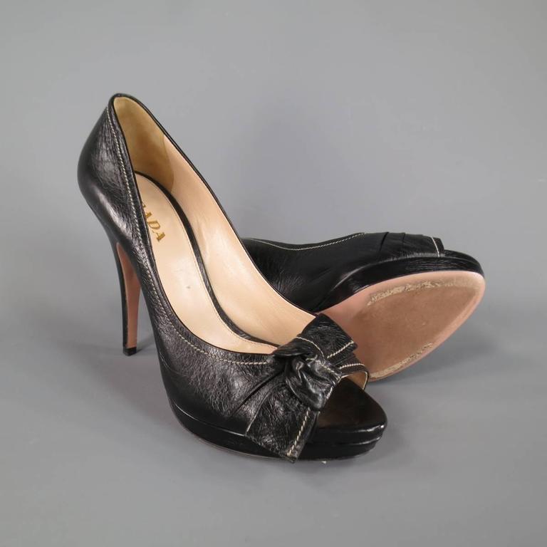 PRADA Size 9 Black Contrast Stitching Leather Peep Toe Knot Bow Platform Pumps 2