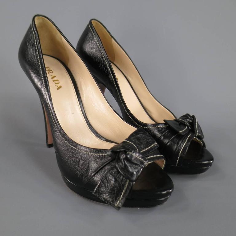 PRADA Size 9 Black Contrast Stitching Leather Peep Toe Knot Bow Platform Pumps 4