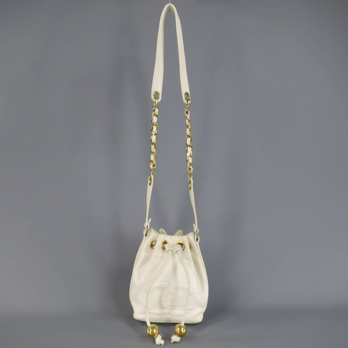 Vintage 1980 S Chanel White Leather Gold Chain Bucket