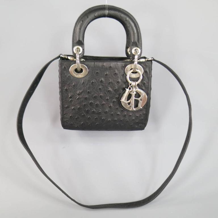 43e7b618dd3 Women's CHRISTIAN DIOR Black Ostrich leather Mini Lady Dior Shoulder Strap  Bag For Sale