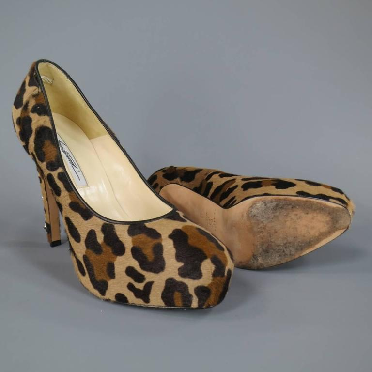 BRIAN ATWOOD Size 10 Leopard Print Pony Hair Chain Heel Platform Pumps In Excellent Condition For Sale In San Francisco, CA