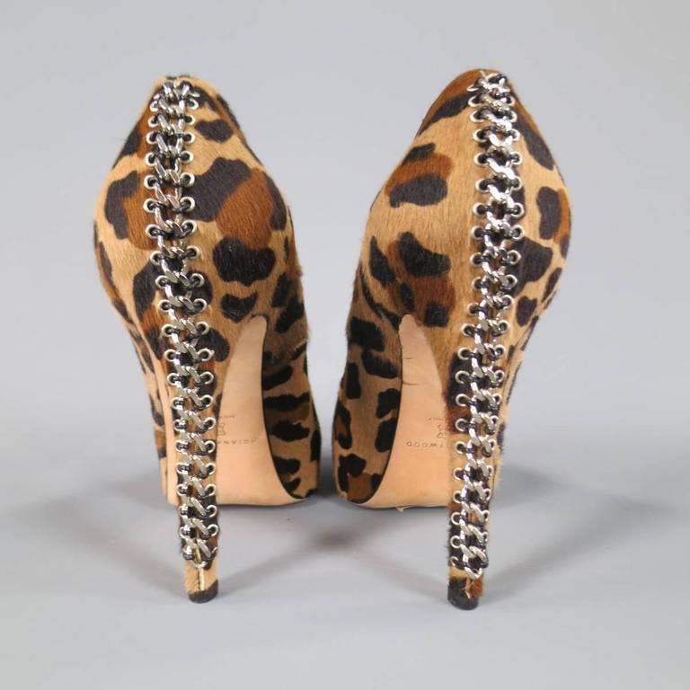 BRIAN ATWOOD Size 10 Leopard Print Pony Hair Chain Heel Platform Pumps For Sale 3