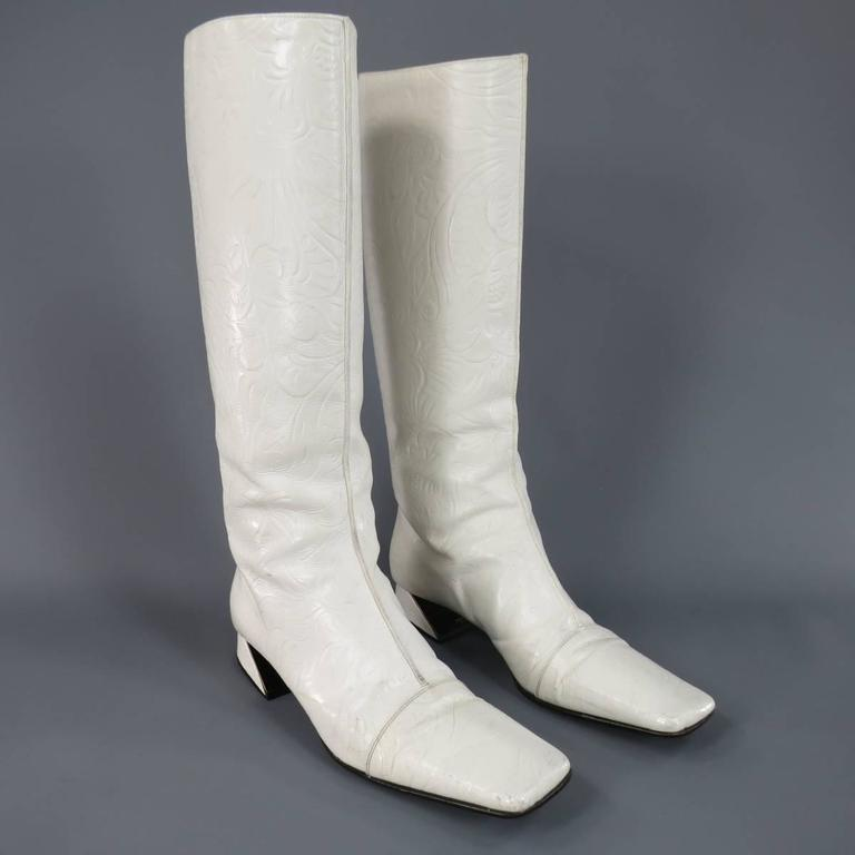 FENDI Size 8 White FLoral Embossed Leather Pull On Go Go Calf Boots 3