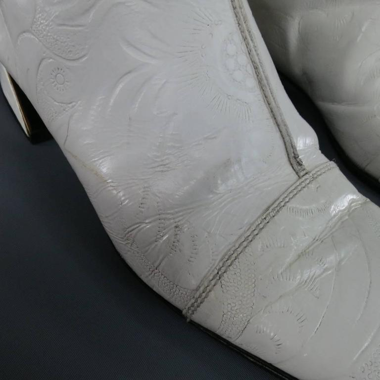 FENDI Size 8 White FLoral Embossed Leather Pull On Go Go Calf Boots 8