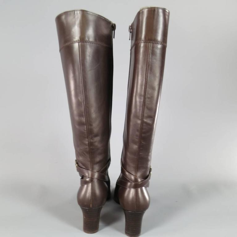 SALVATORE FERRAGAMO Boutique Size 7.5 Brown Leather Gold Gancio CalfBoots 3