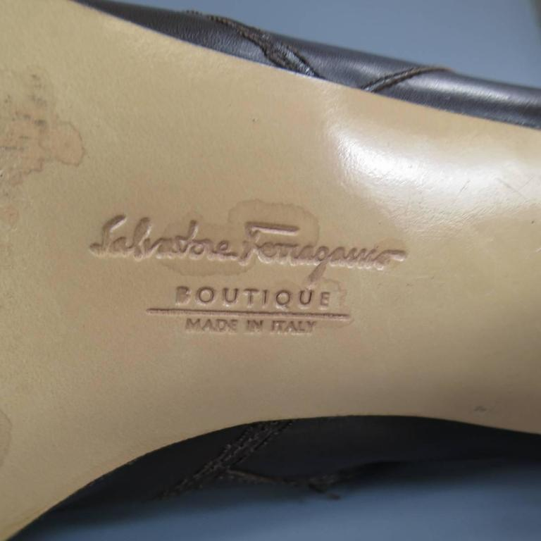 SALVATORE FERRAGAMO Boutique Size 7.5 Brown Leather Gold Gancio CalfBoots 7