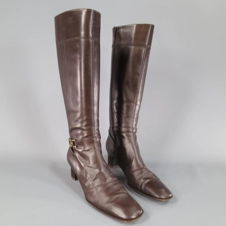 SALVATORE FERRAGAMO Boutique Size 7.5 Brown Leather Gold Gancio CalfBoots 5