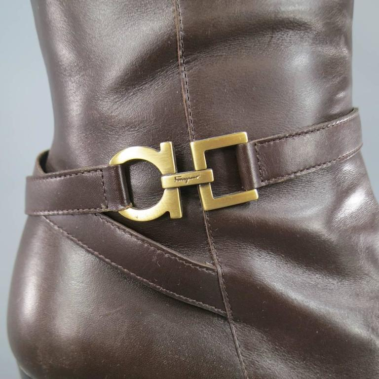 SALVATORE FERRAGAMO Boutique Size 7.5 Brown Leather Gold Gancio CalfBoots 2