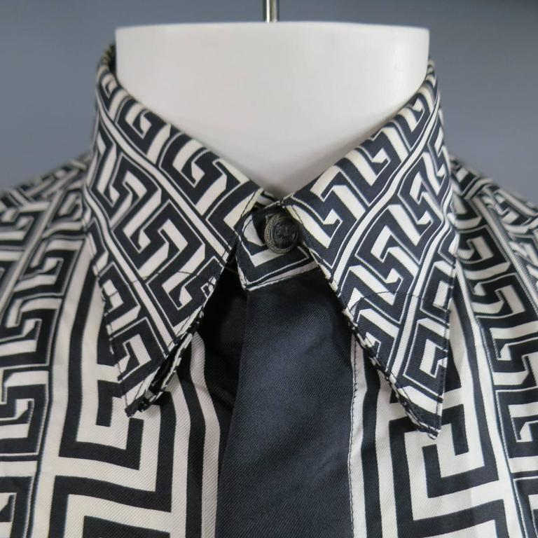 1929d68b4 VINTAGE VERSACE CLASSIC V2 Long Sleeve Shirt consists of silk material in a  black and white