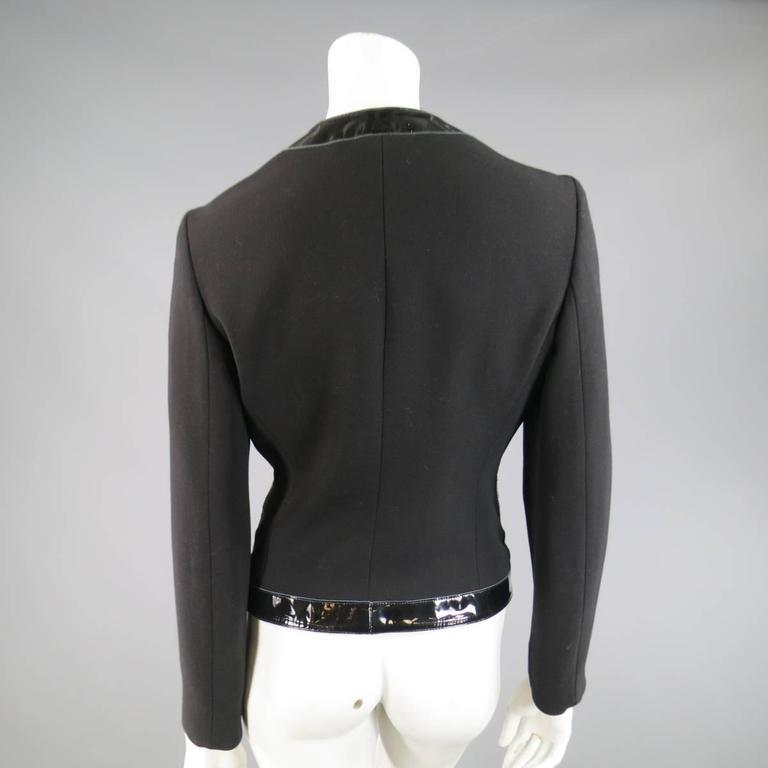 MICHAEL KORS Size 8 Black Virgin Wool & Patent Leather Zip Jacket For Sale 3