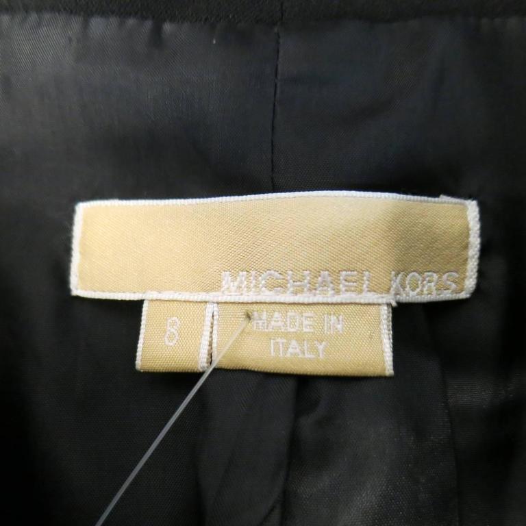 MICHAEL KORS Size 8 Black Virgin Wool & Patent Leather Zip Jacket For Sale 4