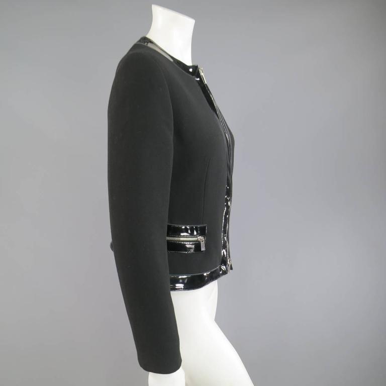 MICHAEL KORS Size 8 Black Virgin Wool & Patent Leather Zip Jacket For Sale 2