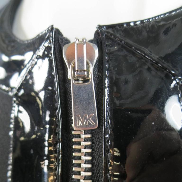 MICHAEL KORS Size 8 Black Virgin Wool & Patent Leather Zip Jacket In Excellent Condition For Sale In San Francisco, CA