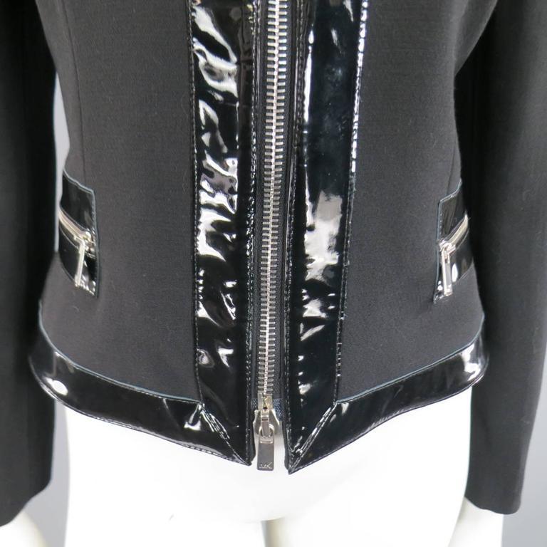 Women's MICHAEL KORS Size 8 Black Virgin Wool & Patent Leather Zip Jacket For Sale